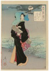 Young Girl Strolling Beside A River On A  Moonligh by Tsukioka Yoshitoshi at Stanza del Borgo (IFPDA)