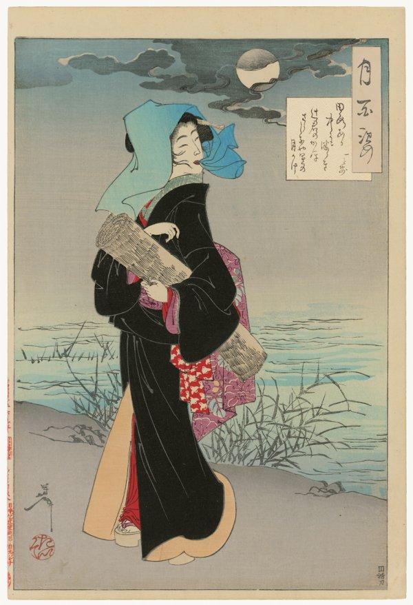 Young Girl Strolling Beside A River On A  Moonligh by Tsukioka Yoshitoshi