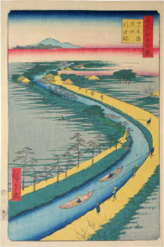 One Hundred Famous Views Of Edo: Hauling Canal Boats, Yotsugi Road by Utagawa Hiroshige