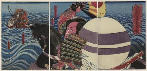 Actors Iwai Kumesaburo Iii , Ichikawa Danjuro Vii by Utagawa Kunisada