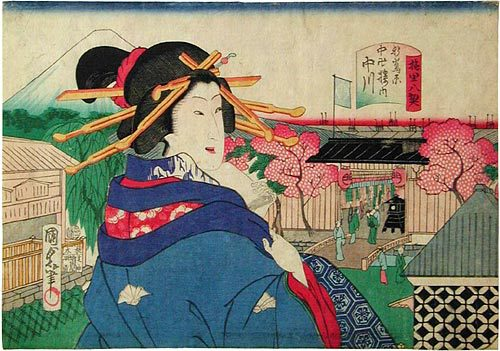 Eight Views Of The Flower Districts: Cherry Blossom Gate At Nakagawa, Odawara by Utagawa Kunisada II