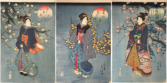 Comparison Of Beauties With Spring Flowers: Cherry, Mountain Rose, And Plum by Utagawa Fusatane at