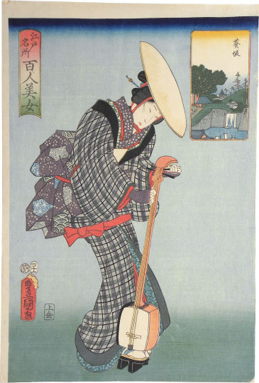 One Hundred Beauties From Famous Places In Edo: Aoisaka by Utagawa Kunisada (Toyokuni III)