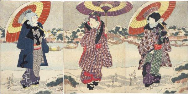 Actors Ichikawa Danjuro Vii, Iwai Kumesaburo Ii And Matsumoto Koshiro V At The Sumida River In The S... by Utagawa Kunisada (Toyokuni III)