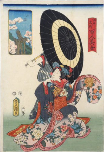 One Hundred Beauties From Famous Places In Edo: Mimeguri by Utagawa Kunisada (Toyokuni III) at Utagawa Kunisada (Toyokuni III)
