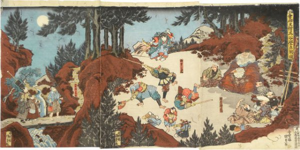 Ushiwakamaru Training With Tengu In The Mountains Near Kyoto by Utagawa Kunisada (Toyokuni III) at Utagawa Kunisada (Toyokuni III)