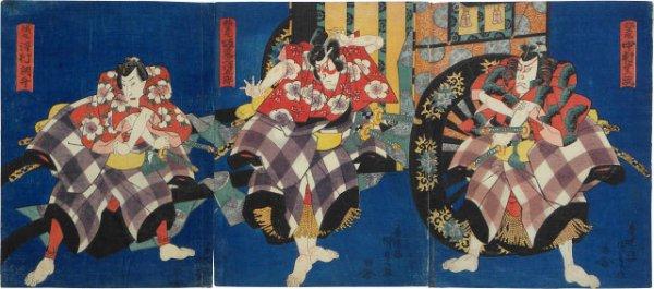 Actors Sawamura Tossho I, Bando Mitsugoro, And Nakamura Shikan Ii In The Kurumabiki Scene by Utagawa Kunisada (Toyokuni III) at Utagawa Kunisada (Toyokuni III)
