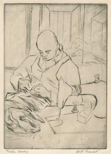 Tailor Sewing by Will Barnet at Conrad R. Graeber Fine Art (IFPDA)