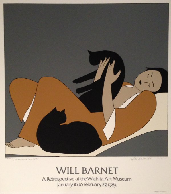 Woman And Cats Poster by Will Barnet