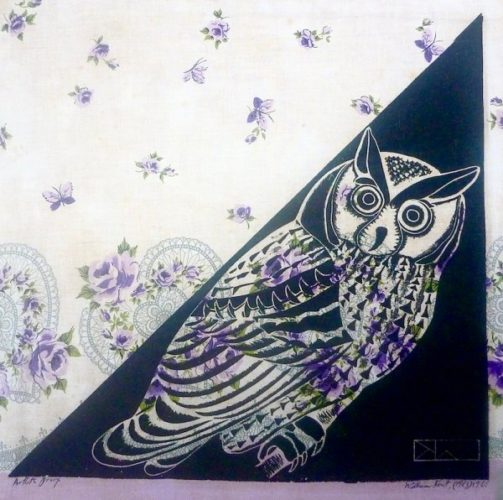 Owl On Triangle Shape by William Kent at Marc Chabot Fine Arts