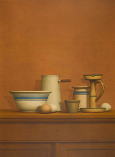 Still Life With Eggs, Candlestick And Bowl by William Bailey at