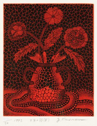 Three Flowers (ii) by Yayoi Kusama at Lougher Contemporary