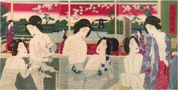 View Of Modern Hotspring by Yoshu Chikanobu at Scholten Japanese Art
