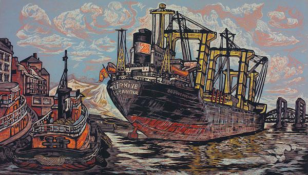 Salt Freighter On The Piscataqua by Don Gorvett