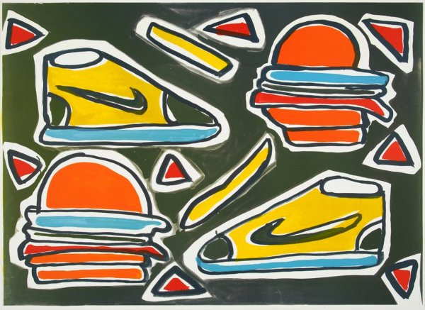 Cheesburger by Katherine Bernhardt at Lougher Contemporary
