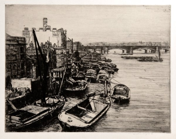 Thames View With Barges by Mortimer Luddington Menpes