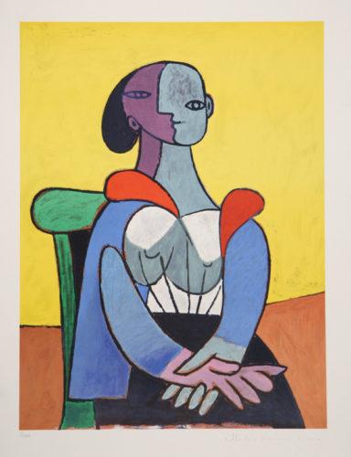 Femme A La Chaise Sur Fond Jaune, 9-c by Pablo Picasso