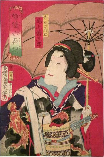 Six Selected Actors: Actor Onoe Kikugoro by Toyohara Kunichika