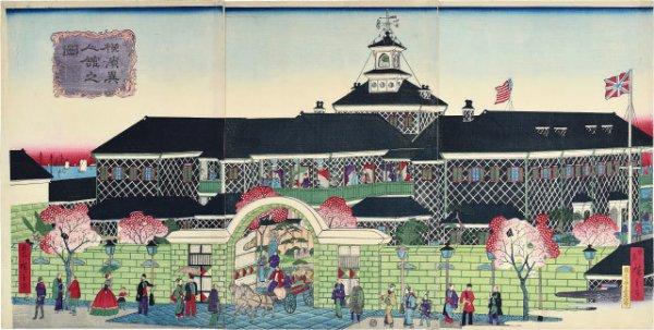 View Of Foreigner's Mansion In Yokohama by Utagawa Hiroshige III (Ando Tokubei)