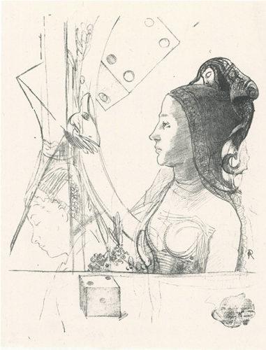 Femme De Profil, Coiffée D'un Hénin by Odilon Redon