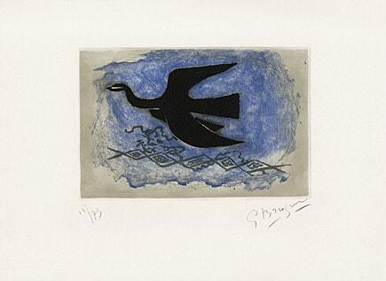 Oiseau Noir Sur Fond Bleu by Georges Braque at