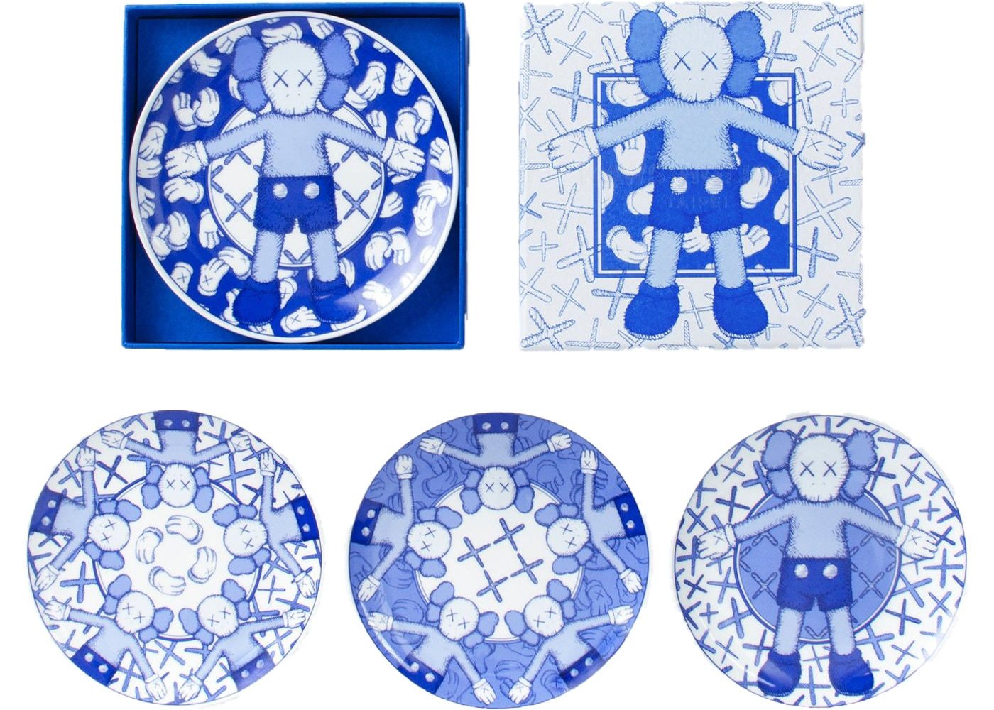 Holiday Ceramic Plate (set Of 4) Blue/white by KAWS