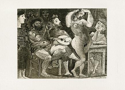 Au Cabaret / En La Taberna. by Pablo Picasso