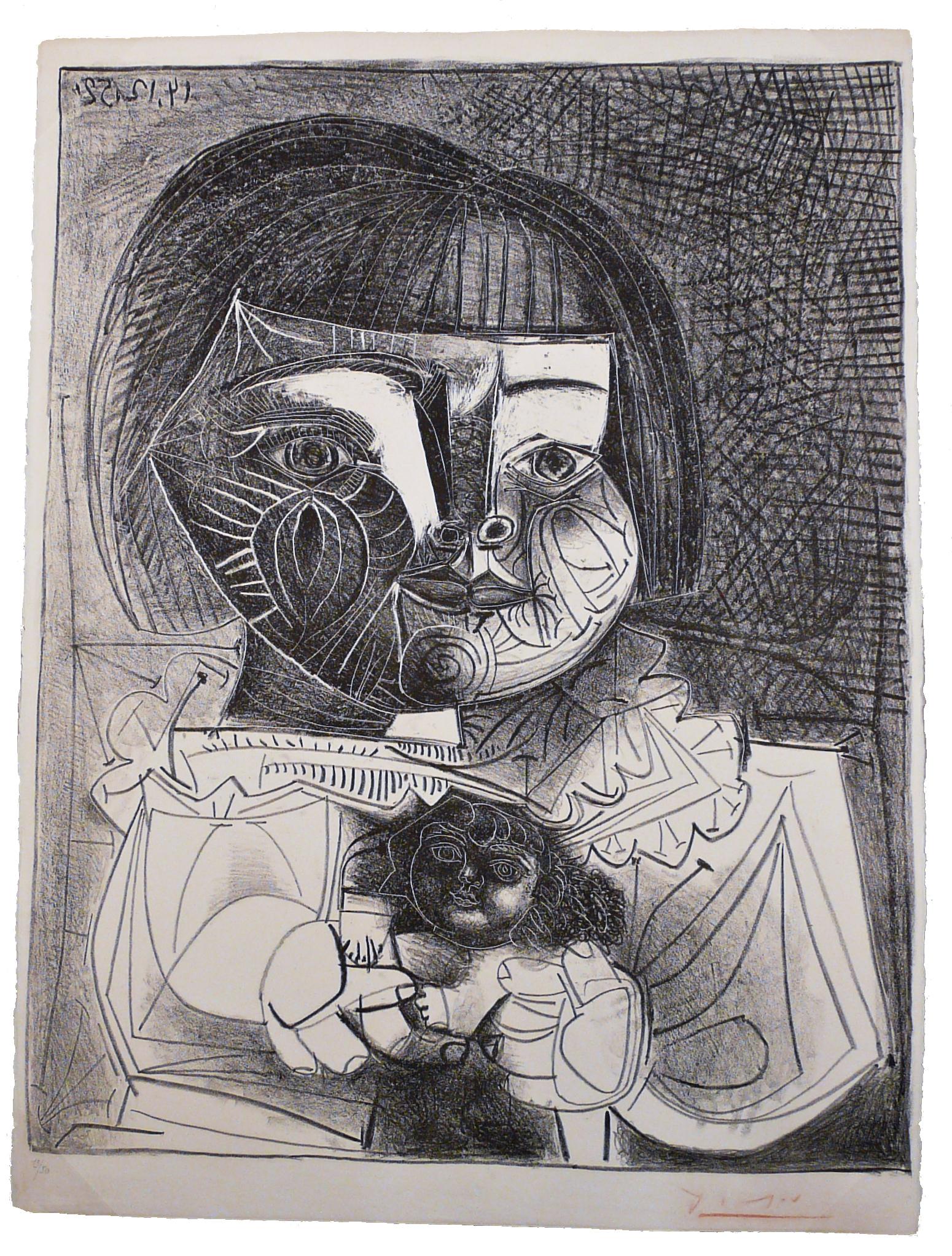 Paloma Et Sa Poupée Sur Fond Noir by Pablo Picasso