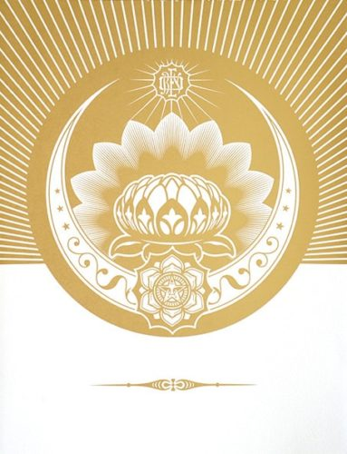 Obey Lotus Crescent (White & Gold). by Shepard Fairey