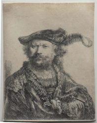 Self-portrait In A Velvet Cap With Plume by Harmensz van Rijn Rembrandt at Sarah Sauvin (IFPDA)