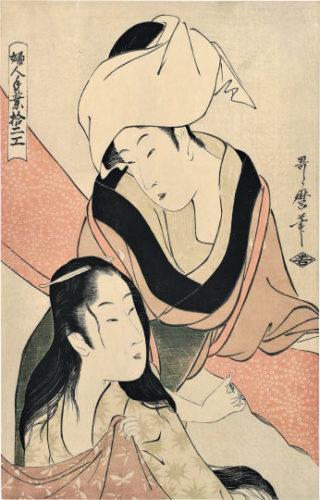Types Of Women's Handicraft: Cloth-stretcher by Kitagawa Utamaro
