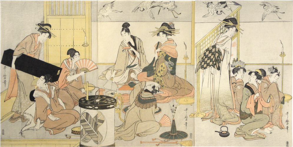 Niwaka Festival Performers In Yoshiwara Teahouse by Kitagawa Utamaro at