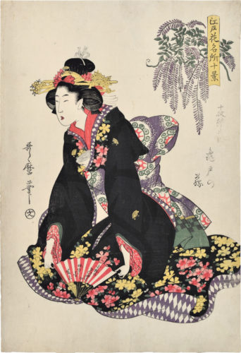 Wisteria At Kameido by Kitagawa Utamaro at