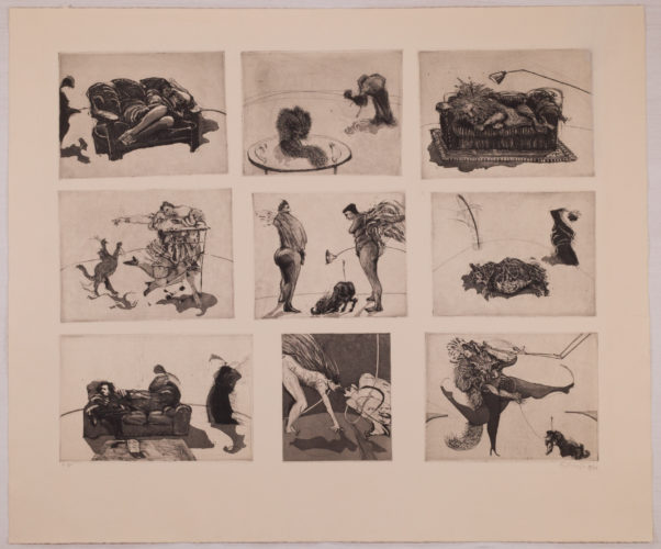 """domestic Scenes"" (nine Plates On One Sheet) by William Kentridge"