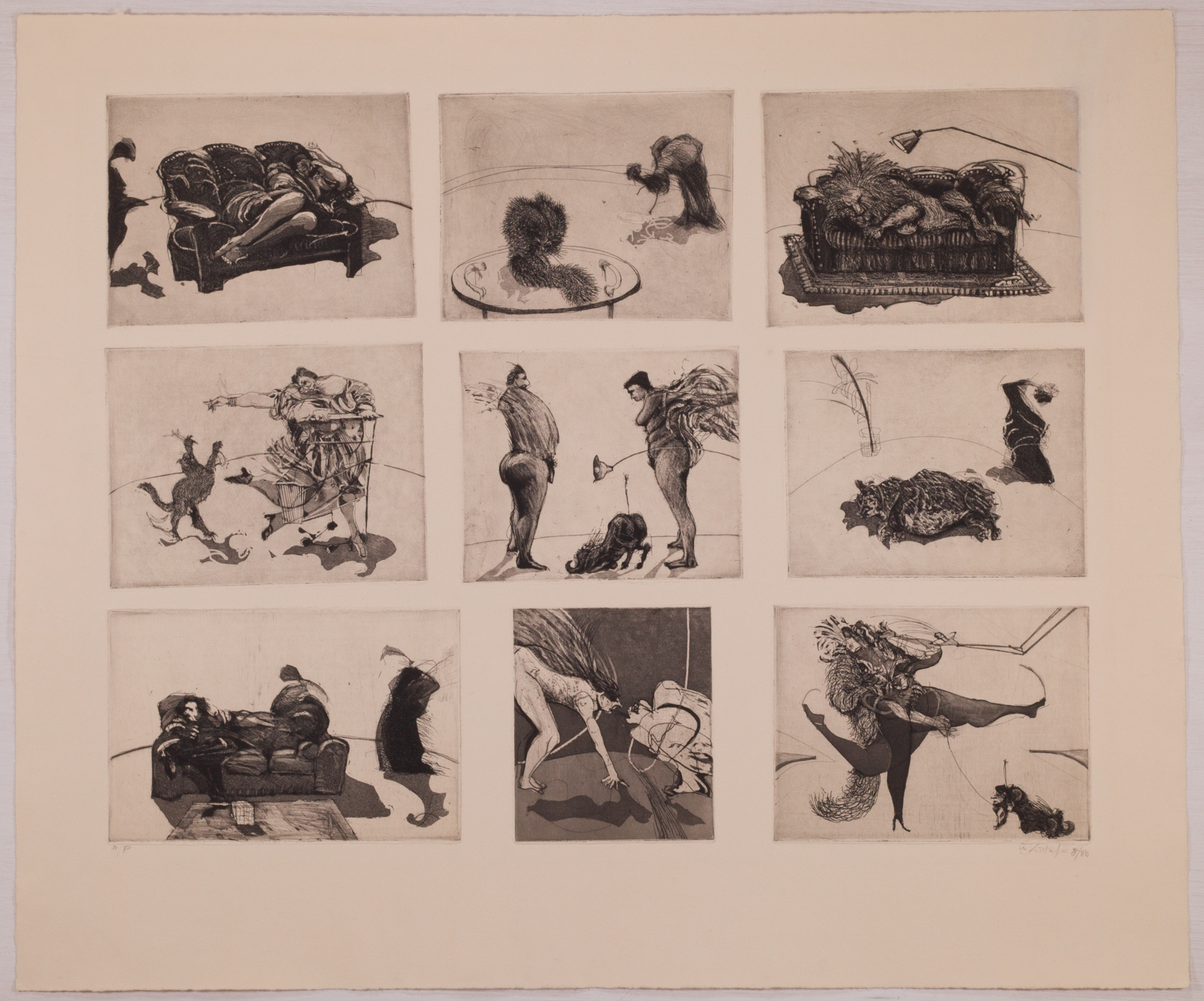 """domestic Scenes"" (nine Plates On One Sheet) by William Kentridge"