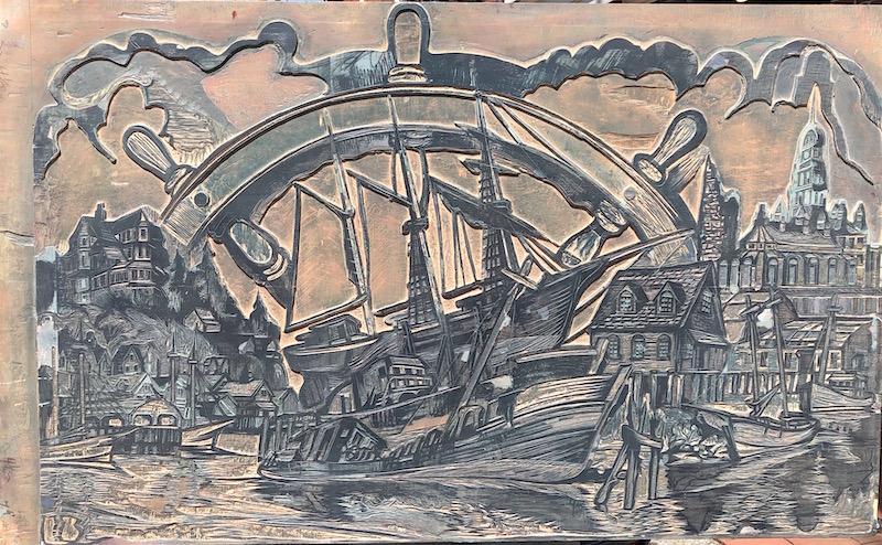 Harbor Ballad, Woodblock by Don Gorvett