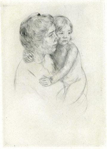 Antoine Holding Her Child (b204) by Mary Cassatt