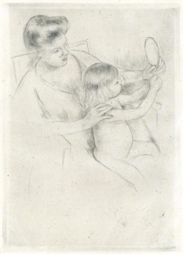 Looking Into A Hand-mirror Ii (b202) by Mary Cassatt at