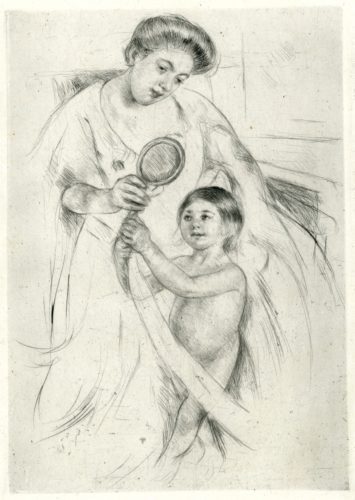 Looking Into A Hand-mirror Iii by Mary Cassatt at