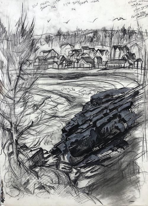 Woodbury Studio From The Marginal Way, Study by Don Gorvett