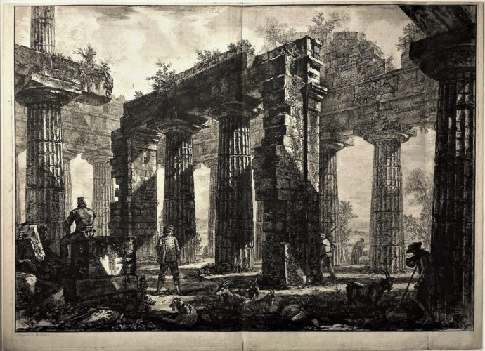 Pronaos Du Temple De Neptune – Working Proof by Giovanni Battista Piranesi