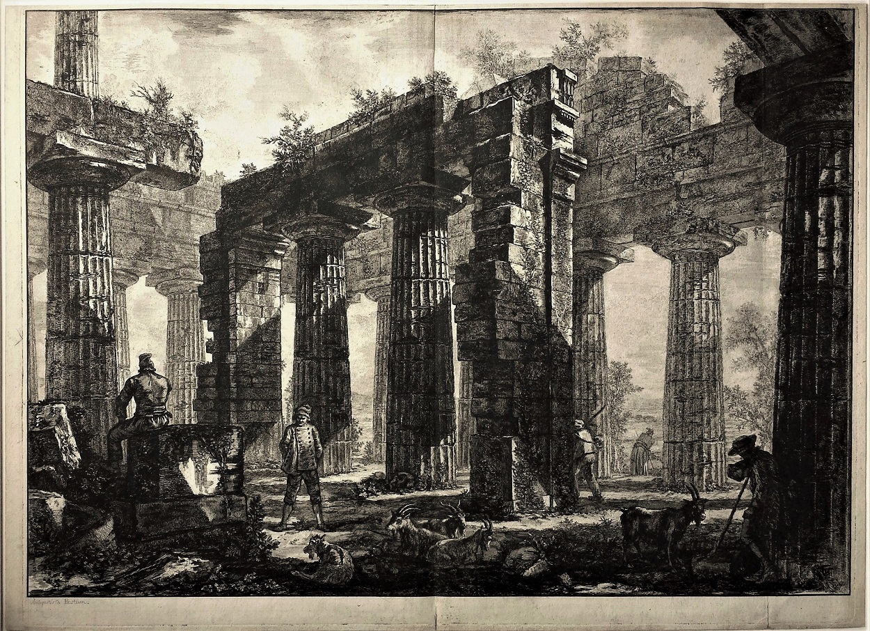 Pronaos Du Temple De Neptune – Working Proof by Giovanni Battista Piranesi