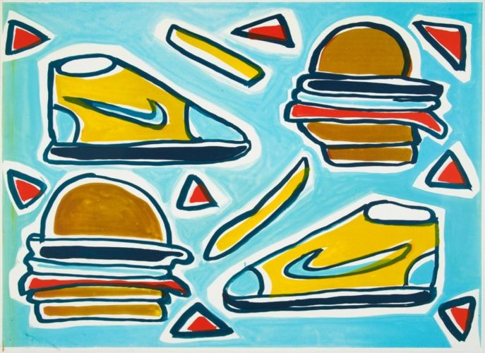 Cheeseburger Deluxe by Katherine Bernhardt at