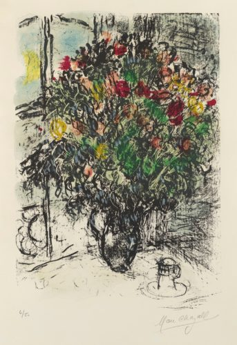Le Bouquet Rouge. Red Bouquet by Marc Chagall