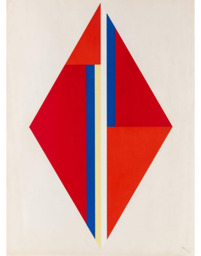 Geometric Composition With Red Diamond by Ilya Bolotowsky