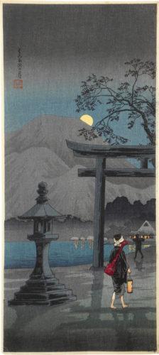 Moon At Hakone Lake by Takahashi Hiroaki (Shotei)