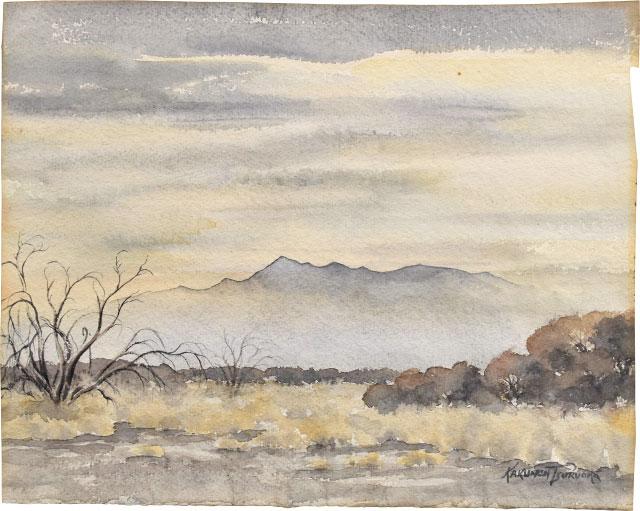 Untitled (golden Hazy Landscape With Mesquite At Left) by Kakunen Tsuruoka