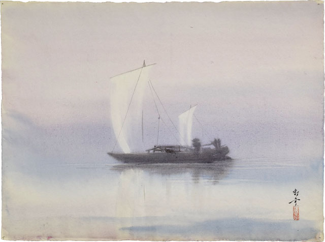 Sailing Boat In Mist by Kakunen Tsuruoka at