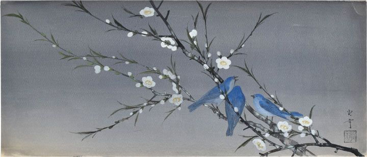 Three Bluebirds On Blossoming White Plum Branch by Kakunen Tsuruoka