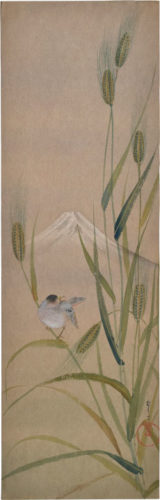 Songbird On Rice With Mt. Fuji by Kakunen Tsuruoka at